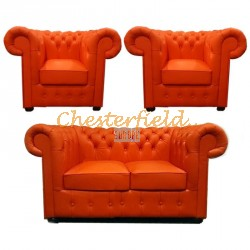 Classic 211 Orange Chesterfield Garnitur
