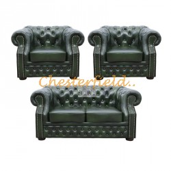 Windsor 211 Antikgruen Chesterfield Garnitur