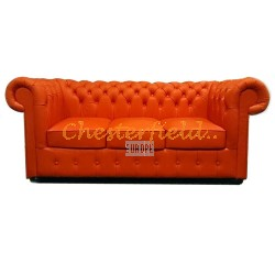 Classic Orange 3-Sitzer Chesterfield Sofa