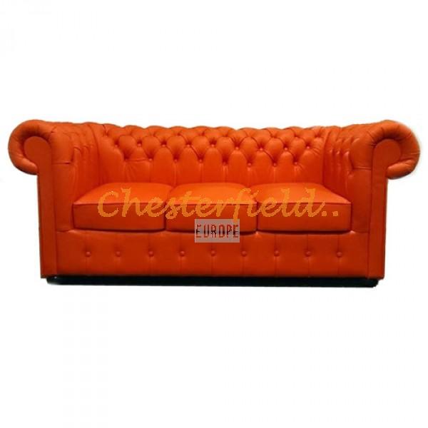 Classic Orange 3-Sitzer Chesterfield Sofa