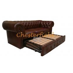 Classic Cognac 3er Chesterfield Schlafsofa