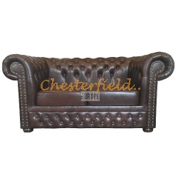 Lord Antikbraun 2-Sitzer Chesterfield Sofa