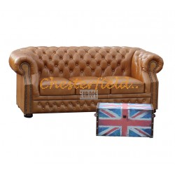 Windsor Antikwhisky 3-Sitzer Chesterfield Sofa