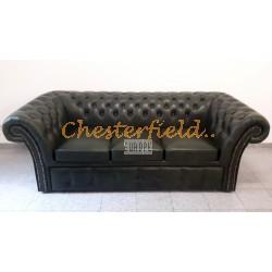 Windchester Antikgruen 3er Chesterfield Schlafsofa