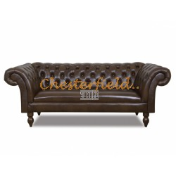 Diva Antikbraun 3-Sitzer Chesterfield Sofa